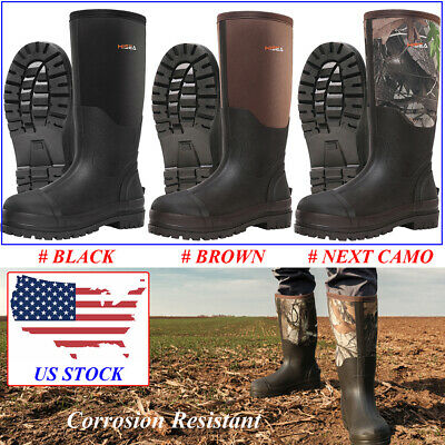 HISEA Men's Rubber Hunting Boots 100% Waterproof Breathable Muck Mud Work Boots