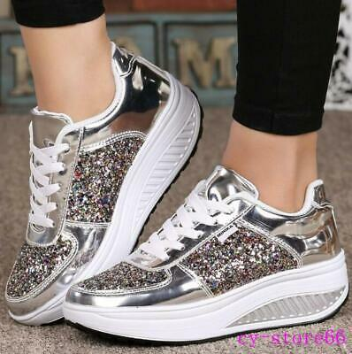 Women's Sequins Athletic Sport Sneakers Lace Up Creepers Wedge Heel College 2019