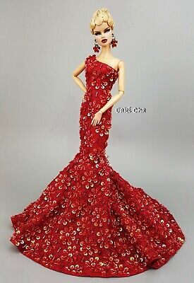 Eaki Red Hot Lace Evening Dress Outfit Gown Silkstone Barbie Fashion Royalty FR2