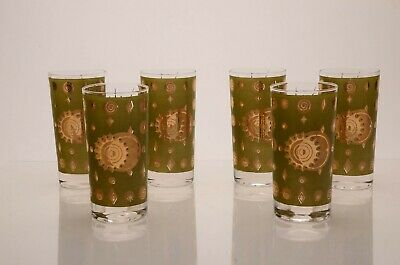 Vintage MCM Fred Press Atomic/Eclipse/Sun & Moon Tumblers Green & Gold Set of 6