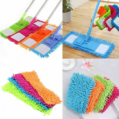 Floor Folding Flat Mop Head Chenille Refill Rag Replace Cloth Washable Clean Pad