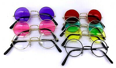 Adult Unisex Hippie Glasses Party Costume Hippy 60's 70's Fancy Dress Up Round