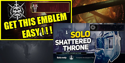 Destiny 2 Forsaken Shattered Throne SOLO emblem PS4/PC