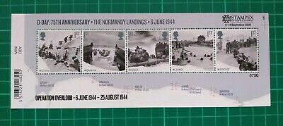 2019 STAMPEX Overprint D-Day Miniature Sheet Unmounted Mint NUMBER 5750