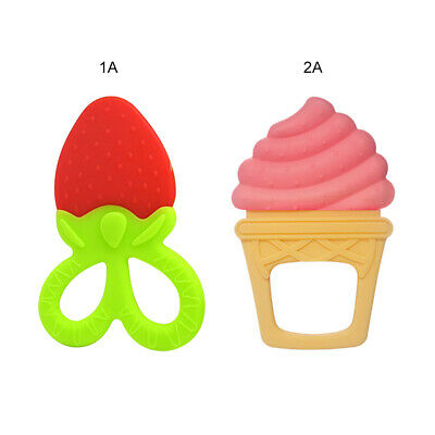 Baby Teether Pacifier Fruit Shape Teething Food Grade Silicone Infant Chew Gift