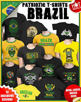 BRAZIL FOOTBALL T-Shirt MENS LADIES Retro Fan Tennis Shirt Strip Patriotic Top