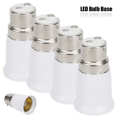 4PC B22 to E27 Bulb Light Lamp Base Edison Screw Bayonet Converter Adapter White