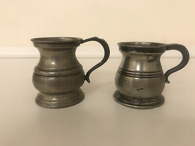 Antique Miniature Pewter Jugs 1/12 Pint X 2