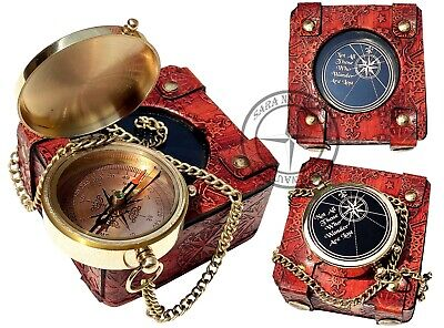 Copper Dial Handmade Brass Engravable Direction Pocket Compass with Leather Box