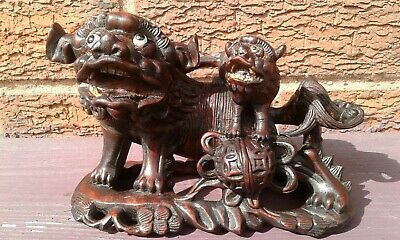 Antique Japanese Meiji Period Wooden Carved Dog of Foo 6 x 4 inches