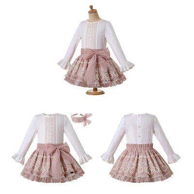 Spanish Girls Lace Outfits Long sleeve Communion Party formal Clothes Set 3-12Y