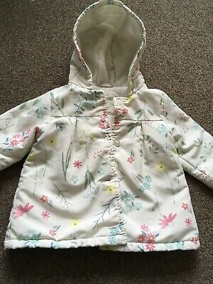 Baby Girls Pink & White Floral Hooded Coat Age 6-9 Months From George