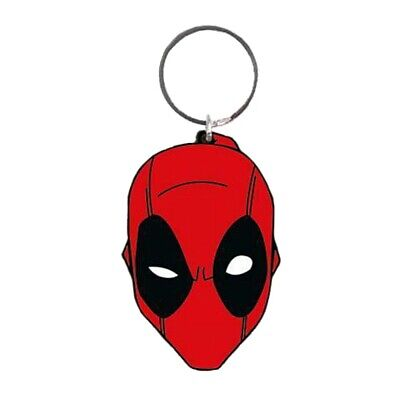 Genuine Marvel Comics Deadpool Face Rubber Keyring Key Chain Fob Wade Wilson