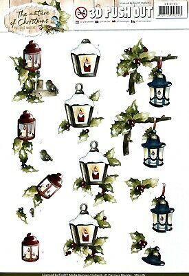 A4 DIE CUT 3D PAPER TOLE DECOUPAGE Push Out Sheet Christmas Lamps Holly