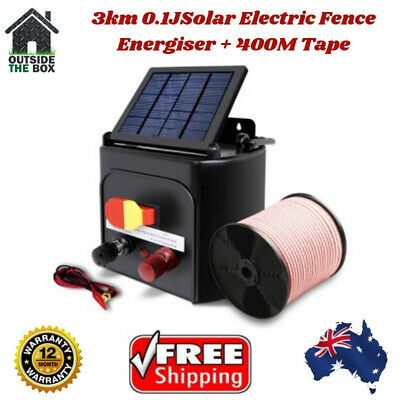 3km Solar Fence Electric Energiser Giantz Charger 400m Tape Farm Poly Wire 0.15j