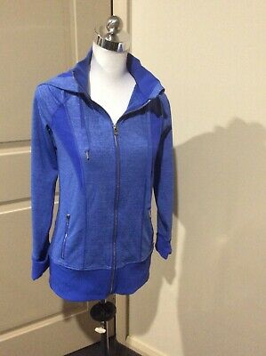 Lorna Jane Active Size M Medium Blue Hooded Jacket Excellent Condition