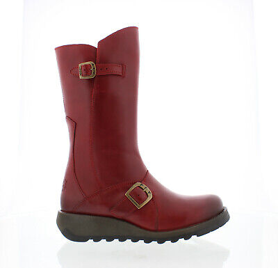 Fly London Mes 2 Womens Ladies Red Mid Calf Wedge Zip Up Leather Boots