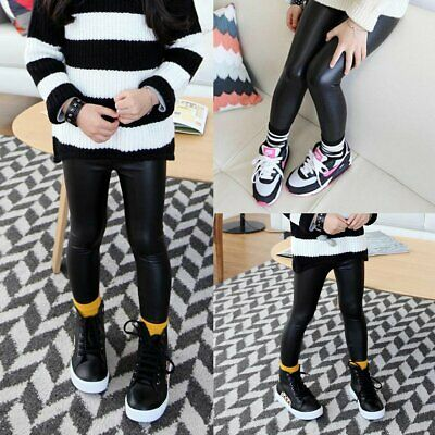 Children Kids Baby Girl Stretchy Leggings Trousers Toddler PU Leather Pants 2-7Y