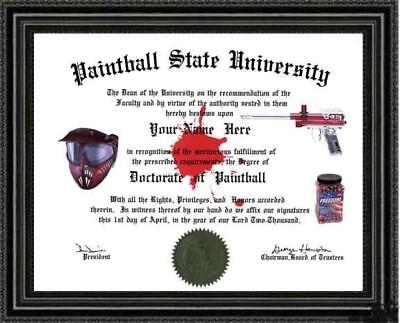 Paintball Lover's Doctorate Diploma / Degree Custom made & Designed for you