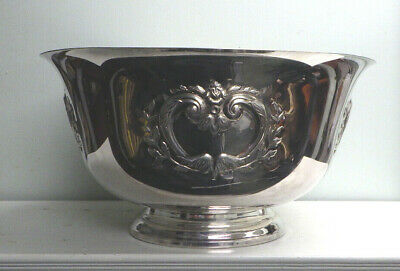 Vintage Antique Repousse Silverplate Punch Bowl WW