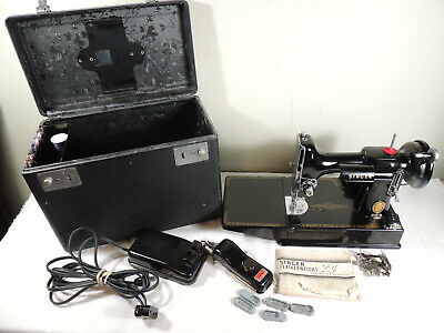 1955 Singer 221 Featherweight Sewing Machine w NEW MOTOR