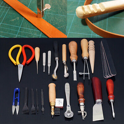 Leather Craft Stitching Carving Punch Kit Working Sewing Saddle Groover Tools