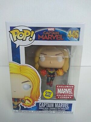 Funko Pop Captain Marvel # 446 Marvel Collector Corps Glows in the Dark