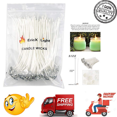 """100 Pcs Candle Wicks 6"""" Low Smoke Soy Wax Pre Waxed Natural Candle Wick Cotton"""