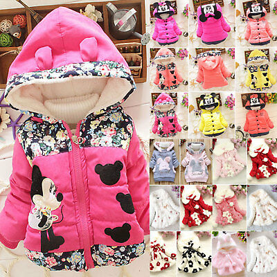 Baby Girls Minnie Mouse Hoody Hoodie Jacket Coat Kids Winter Outerwear 1-6 Years