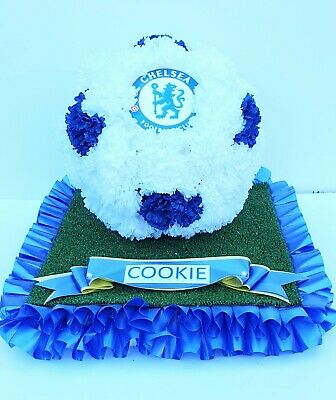 Lge 3D FOOTBALL Pillow Silk Artificial Funeral Flowers/Wreath/Tribute ANY TEAM