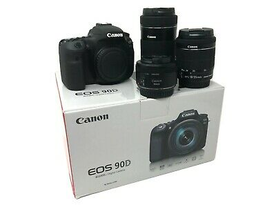 Canon EOS 90D camera with 18-55mm + 55-250mm + 50mm Lens UK NEXT DAY DEL