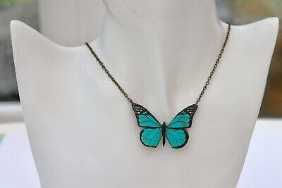 Beautiful Bright Blue Vein Wooden Butterfly Antique Bronze Necklace Pendant