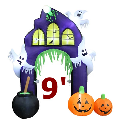 Huge 9' LED Halloween Castle Arch Pumpkin Ghost Inflatable Outdoor Yard Decor