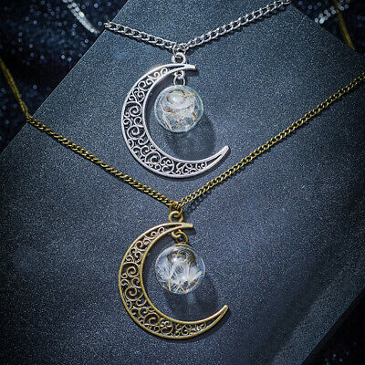 New Moon Glass Ball Silver Gold Chain Pendant Necklace Jewelry Christmas Gift