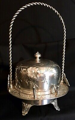 Antique Victorian James Tufts Silver Plated  Etched Covered Butter Dish & Knife