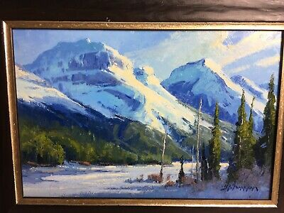 "Original Painting by JERRY MARKHAM ""On The Banks Of Spray Lake"" Alberta 12 X 16"