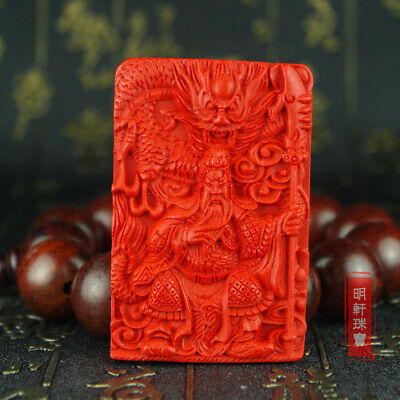 Natural Red Cinnabar Carving Lacquer Chinese Dragon Guan Yu Pendant For Necklace