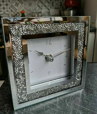 Elegant Mirrored Crushed Crystal Diamond Square Crystal Table Clock 14cm x 14cm