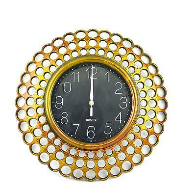 Large 40CM Wall Clock Round Classic Vintage Design Gold Copper Effect Gift Home
