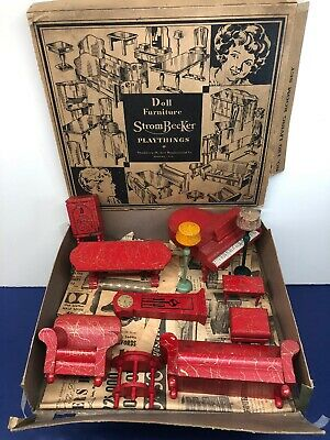 Vintage StromBecker Doll House Living Room Set #120 1930-40's W/ Box As Found