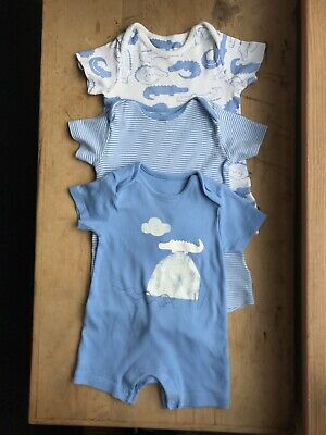 Baby Boys Marks & Spencer Crocodile Pyjamas 9-12 Months Blue Cotton Rompers. X 3
