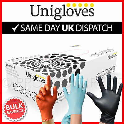 100 Nitrile Disposable Gloves Powder Latex Free  Black Blue Orange Mechanic