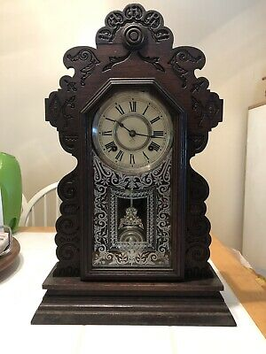 Antique Ansonia Calendar Kitchen Clock 8-day, Time and Strike