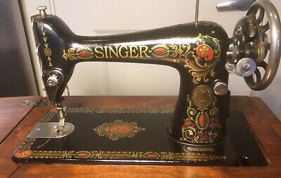 Antique Singer RED EYE Treadle Sewing Machine 66 Parlor Cabinet 1910 Beautiful!