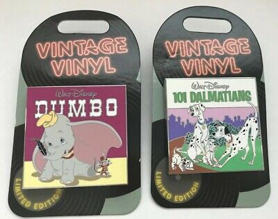 Disney Vintage Vinyl Dumbo and 101 Dalmations Record Pins Lot of 2 LE 3000 NWT
