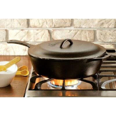"""Lodge 5 Quart 12"""" Dia. Deep Skillet Chicken Fryer Cook with Cast Iron Cover Lid"""
