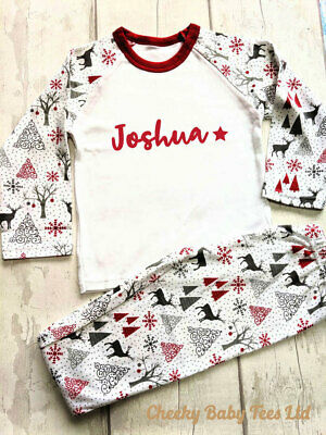 Personalised children's Christmas pyjamas PJs,Any name,3-4 and 4-5 yrs, Boy/Girl