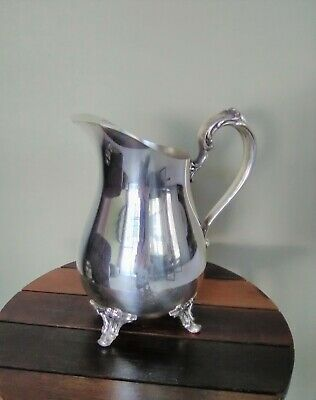 "Vintage WM Rogers Silverplate Footed Water Pitcher/Carafe With Ice Guard  9"" VGC"