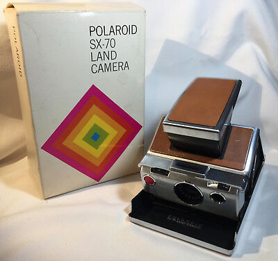 Vtg Polaroid SX-70 Land Camera Folding Chrome Tan Leather Instant Camera w/Box