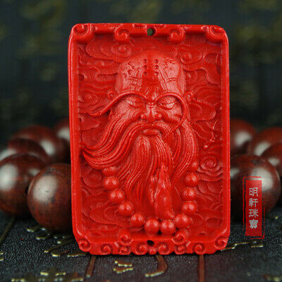 Natural Red Cinnabar Carving Lacquer Chinese Master Of Zen Tamo Monk Pendant